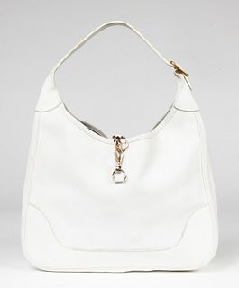 Hermes White Leather Trim II 31 Handbag / Purse