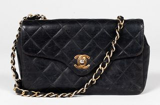 Chanel Black Leather Handbag / Purse