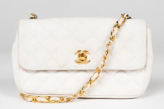 Chanel White Leather Handbag / Purse