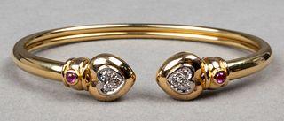 18K Gold Diamond & Ruby Heart Bangle Bracelet