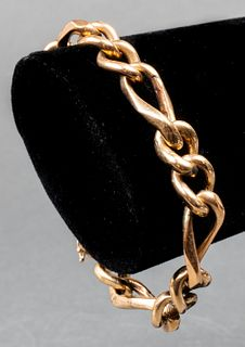 Vintage 14K Yellow Gold Figaro Chain Bracelet