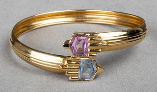 18K Gold Pink Sapphire & Blue Topaz Bracelet