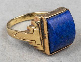 Art Deco 14K Yellow Gold & Lapis Lazuli Ring