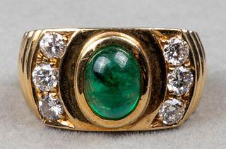 Vintage 18K Yellow Gold Emerald & Diamond Ring