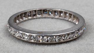 Vintage Platinum Diamond Eternity Band Ring