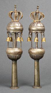 Judaica Middle Eastern Silver Torah Finials, Pr