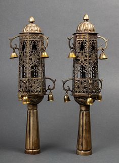 Judaica Antique North African Torah Finials, Pair