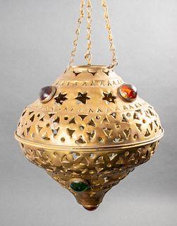 Judaica North African Pierced Brass Ner Tamid