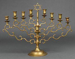 Judaica Large Polish Brass Chanukah Menorah, 19 C.