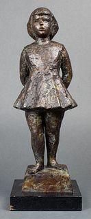 """Chaim Gross Judaica """"Girl"""" Modern Bronze"""