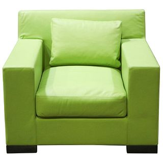 Ideo Modern Club Chair w Green Leather Upholstery