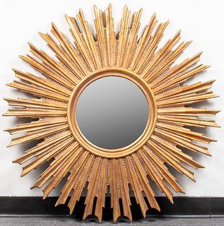 Large Mid-Century Modern Sunburst Wall Mirror