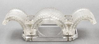Lalique Frosted Art Glass Candleholder Centerpiece