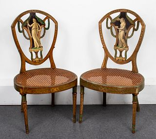 Neoclassical Period Painted Side Chairs, Pair