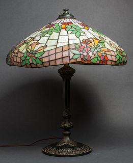 Tiffany Manner Leaded Glass & Bronze Table Lamp