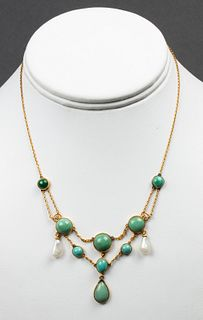 Vintage 14K Yellow Gold Turquoise & Pearl Necklace