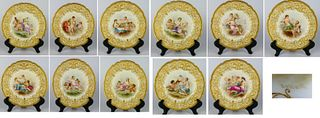 SET 12  LE ROSEY FRENCH PORCELAIN CABINET PLATES