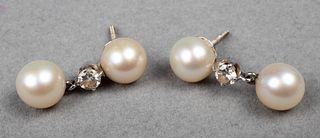 18K White Gold Diamond & Pearl Drop Earrings