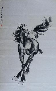 MANNER OF BEIHONG XU CHINESE HORSE WATERCOLOR
