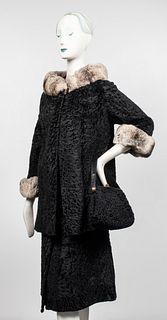 Persian Lamb & Chinchilla Fur Coat w Purse, Skirt