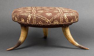 Vintage Steer Horn Tripod Upholstered Footstool