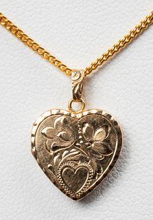 14K Yellow Gold Heart Locket Pendant Necklace
