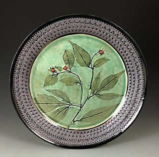 Wildflower Platter in Moss Green with Red Berries