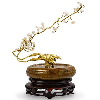 Chinese Gold Plated and Pearl Tree Sculpture