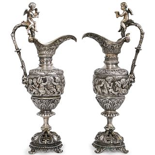 Pair of 19th Cent. French Silver Bronze Ewers
