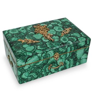 Russian Imperial Style Malachite and Sterling Silver Box