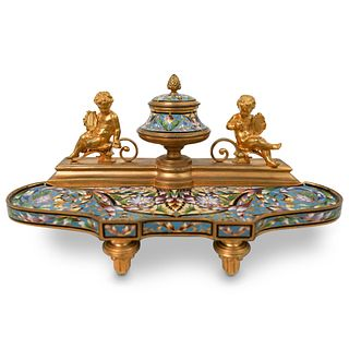 Belle Epoque French Champleve Gilt Bronze Inkwell