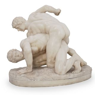 """The Wrestlers"" Marble Sculpture"