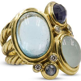 David Yurman 18k Gold and Precious Stone Ring