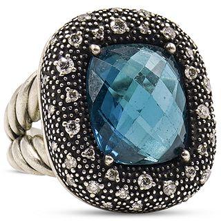 David Yurman Topaz, Diamond and Sterling Ring