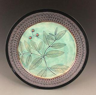 Milkweed Platter in Bright Celadon with Red Berries