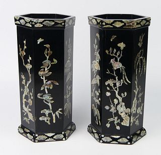 Pr ANTIQUE CHINESE MOP INLAY BLACK LACQUER VASES