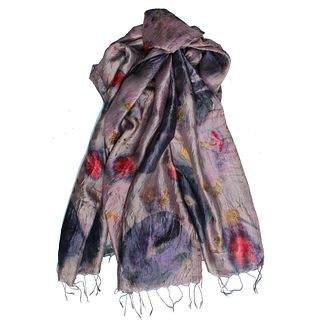 Oversized Mulberry silk shawl eco-printed with real flowers: Hibiscus, begonias