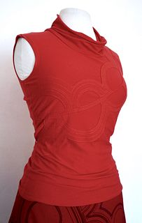 "Red ""Yoko"" Applique, Stretch Top (SIZE S)"