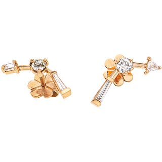 DIAMONDS EARRINGS. 18K PINK GOLD