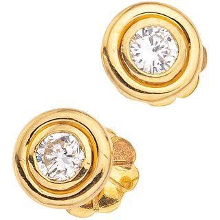 DIAMONDS STUD EARRINGS. 16K YELLOW GOLD