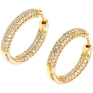 DIAMONDS HOOP EARRINGS. 14K YELLOW GOLD