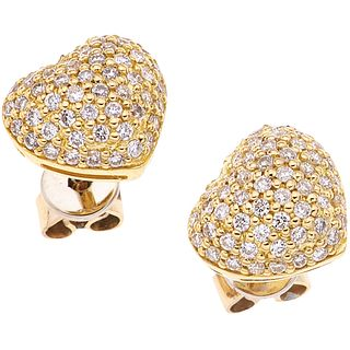 DIAMONDS STUD EARRINGS. 18K YELLOW GOLD