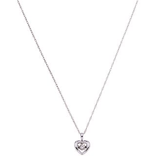 CHOKER AND PENDANT WITH DIAMOND. 14K WHITE GOLD