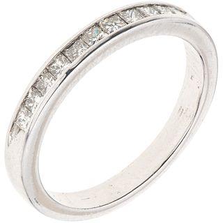 HALF ETERNITY DIAMONDS RING. 14K WHITE GOLD