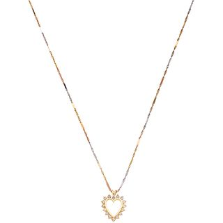 NECKLACE AND PENDANT WITH DIAMONDS. 14K YELLOW, WHITE AND PINK  GOLD