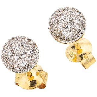 DIAMONDS STUD EARRINGS. 18K YELLOW GOLD