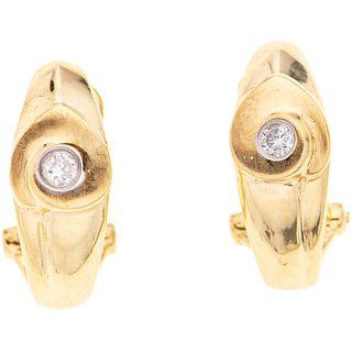 DIAMONDS EARRINGS. 14K YELLOW GOLD