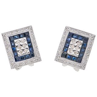 SAPPHIRES AND DIAMONDS EARRINGS. 14K WHITE GOLD