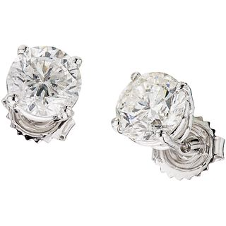 DIAMONDS STUD EARRINGS. 14K WHITE GOLD
