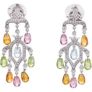 AQUAMARINES, CITRINE, PERIDOTS AND SAPPHIRES EARRINGS. 14K  AND 18K WHITE GOLD